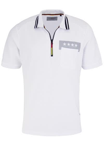 CASAMODA Poloshirt Halbarm mit Reißverschluss WM 2018 weiß - Hemden Meister