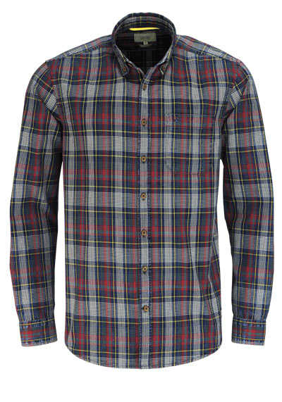 CAMEL ACTIVE Regular Fit Hemd Langarm Button Down Kragen Karo rot