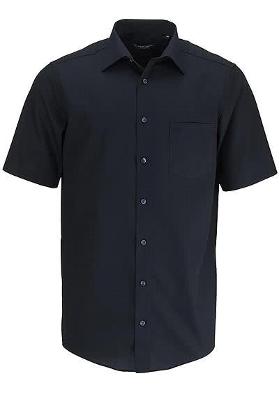 CASAMODA Comfort Fit Hemd Halbarm New Kent Kragen Popeline schwarz - Hemden Meister