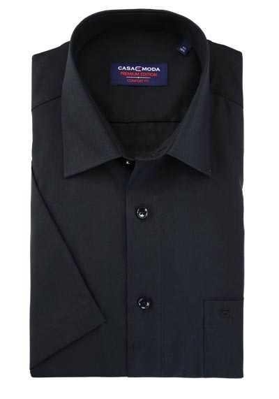 efffd81d5c4f1f CASAMODA Comfort Fit Hemd Halbarm New Kent Kragen Popeline schwarz  preisreduziert