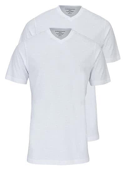 CASAMODA T-Shirt V-Auschnitt reine Baumwolle Doppelpack weiß - Hemden Meister