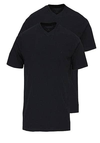 CASAMODA T-Shirt V-Auschnitt reine Baumwolle Doppelpack schwarz - Hemden Meister