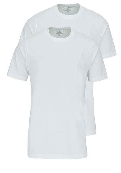 CASAMODA T-Shirt Rundhals reine Baumwolle Doppelpack weiß - Hemden Meister
