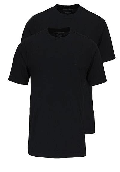 CASAMODA T-Shirt Rundhals reine Baumwolle Doppelpack schwarz - Hemden Meister