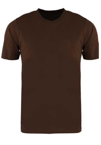 CASAMODA T-Shirt mit Rundhals reine Baumwolle mittelbraun - Hemden Meister