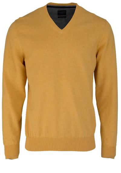CASAMODA Pullover Langarm V-Ausschnitt reine Baumwolle gelb - Hemden Meister