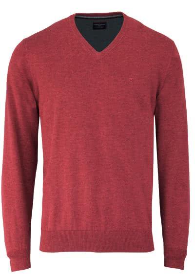 CASAMODA Pullover Langarm V-Ausschnitt reine Baumwolle dunkelrot - Hemden Meister