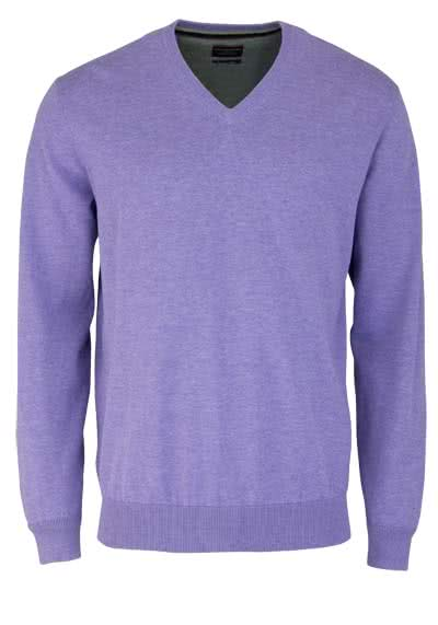 CASAMODA Pullover Langarm V-Ausschnitt reine Baumwolle mauve - Hemden Meister