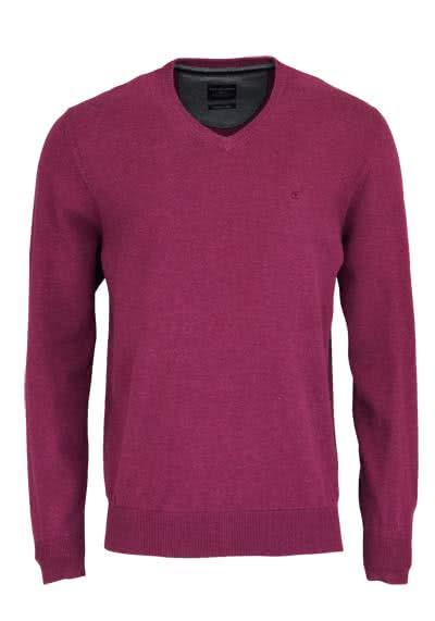 CASAMODA Pullover Langarm V-Ausschnitt reine Baumwolle lila - Hemden Meister
