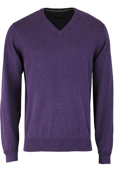 CASAMODA Pullover Langarm V-Ausschnitt reine Baumwolle violett - Hemden Meister