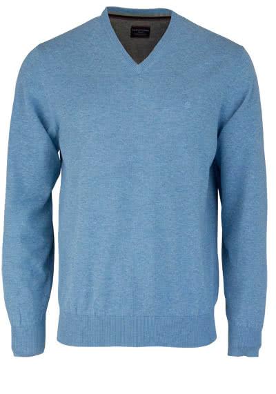 CASAMODA Pullover Langarm V-Ausschnitt reine Baumwolle türkis - Hemden Meister