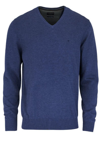 CASAMODA Pullover Langarm V-Ausschnitt reine Baumwolle dunkelblau - Hemden Meister