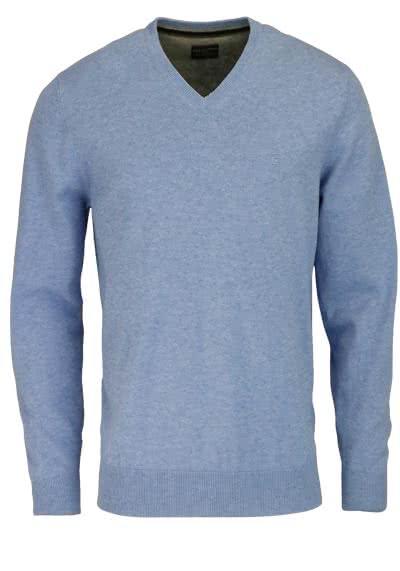 CASAMODA Pullover Langarm V-Ausschnitt reine Baumwolle himmelblau - Hemden Meister