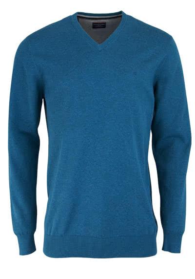 CASAMODA Pullover Langarm V-Ausschnitt reine Baumwolle petrol - Hemden Meister