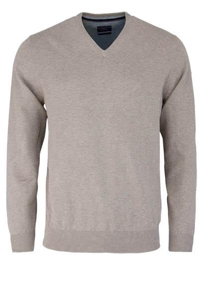 CASAMODA Pullover Langarm V-Ausschnitt reine Baumwolle mittelbraun - Hemden Meister