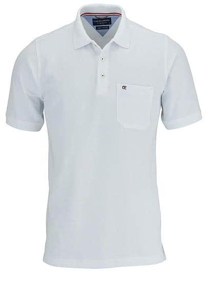 CASAMODA Poloshirt Halbarm Brusttasche reine Baumwolle weiß - Hemden Meister