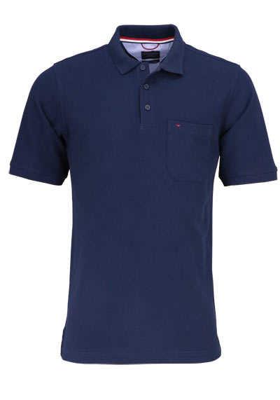 CASAMODA Poloshirt Halbarm Brusttasche reine Baumwolle navy - Hemden Meister