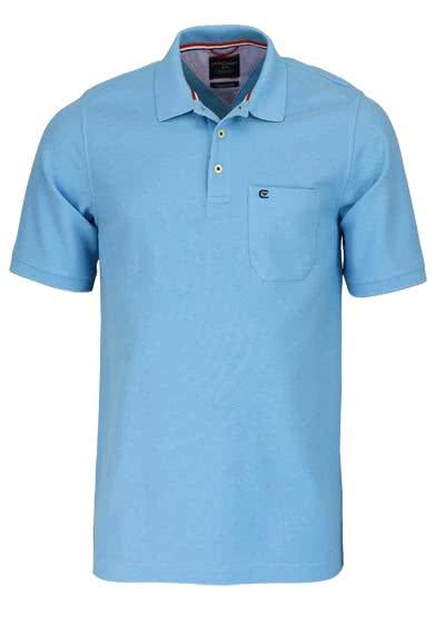 CASAMODA Poloshirt Halbarm Brusttasche reine Baumwolle himmelblau - Hemden Meister