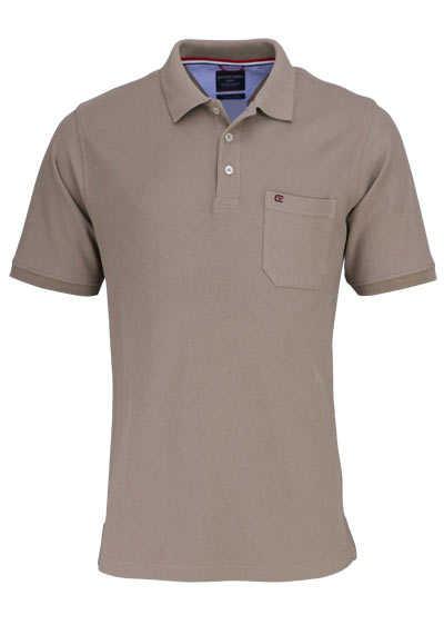 CASAMODA Poloshirt Halbarm Brusttasche reine Baumwolle mittelbraun - Hemden Meister