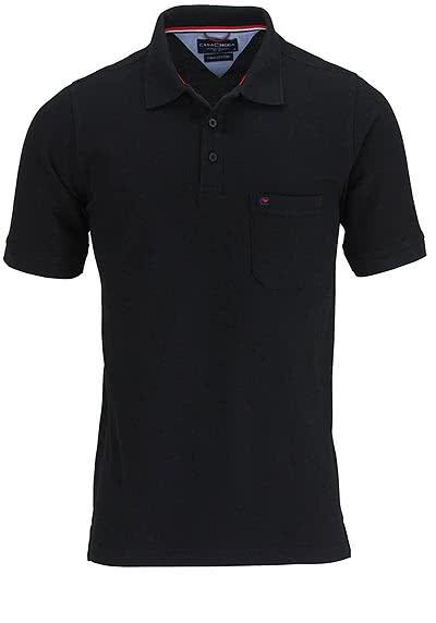 CASAMODA Poloshirt Halbarm Brusttasche reine Baumwolle schwarz - Hemden Meister