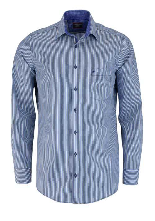 CASAMODA Comfort Fit Hemd Langarm New Kent Kragen Besatz Streifen blau - Hemden Meister