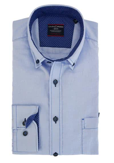 CASAMODA Comfort Fit Hemd Langarm Button Down Kragen Oxford hellblau