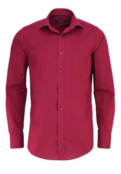 CASAMODA Modern Fit Hemd Langarm New Kent Kragen Popeline weinrot - Hemden Meister