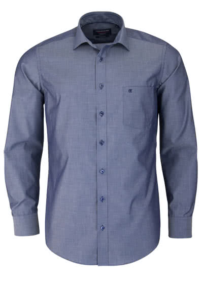 CASAMODA Modern Fit Hemd Langarm New Kent Kragen Chambray dunkelblau - Hemden Meister