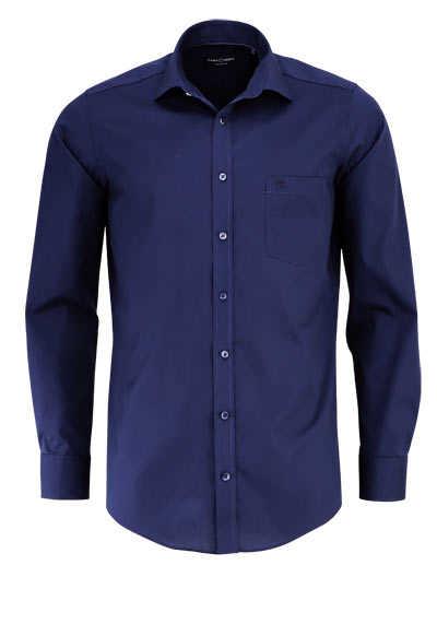 CASAMODA Modern Fit Hemd Langarm New Kent Kragen Popeline nachtblau - Hemden Meister