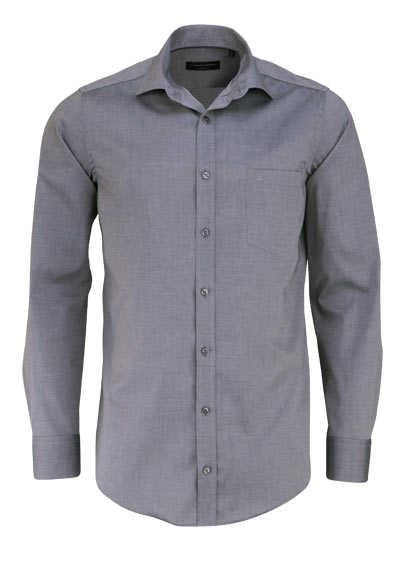 CASAMODA Modern Fit Hemd Langarm New Kent Kragen Popeline dunkelgrau - Hemden Meister