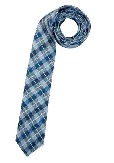 CASAMODA Krawatte aus reiner Seide 6 cm Karo mittelblau - Hemden Meister
