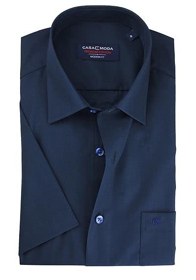 CASAMODA Modern Fit Hemd Halbarm New Kent Kragen Popeline dunkelblau