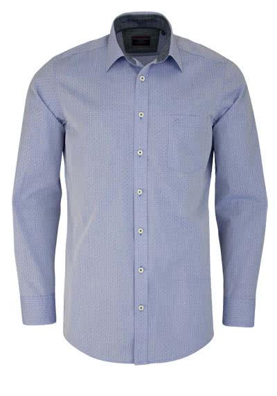 CASAMODA Comfort Fit Hemd Langarm New Kent Kragen Punkte blau - Hemden Meister