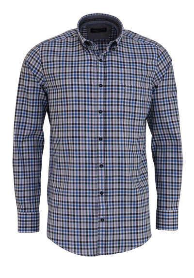 CASAMODA Comfort Fit Hemd Langarm Button Down Kragen Karo dunkelblau - Hemden Meister