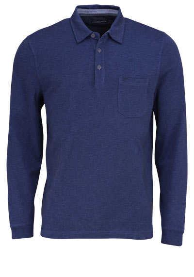 CASAMODA Poloshirt Langarm Brusttasche mit Besatz dunkelblau - Hemden Meister
