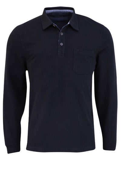 CASAMODA Poloshirt Langarm Brusttasche mit Besatz nachtblau - Hemden Meister