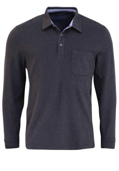 CASAMODA Poloshirt Langarm Brusttasche mit Besatz schwarz - Hemden Meister