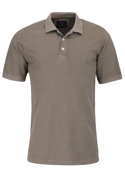 CASAMODA Poloshirt Halbarm reine Baumwolle Vintage Look mittelbraun - Hemden Meister