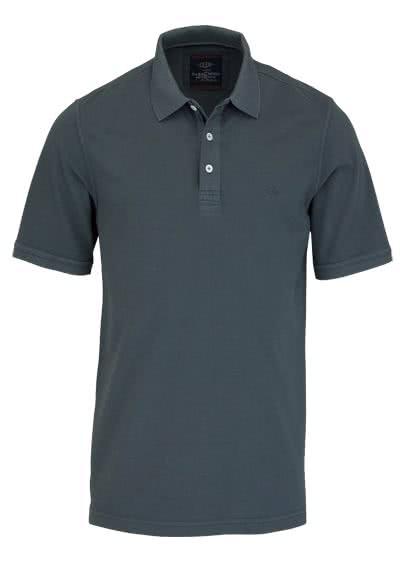 CASAMODA Poloshirt Halbarm reine Baumwolle Vintage Look mittelgrau - Hemden Meister