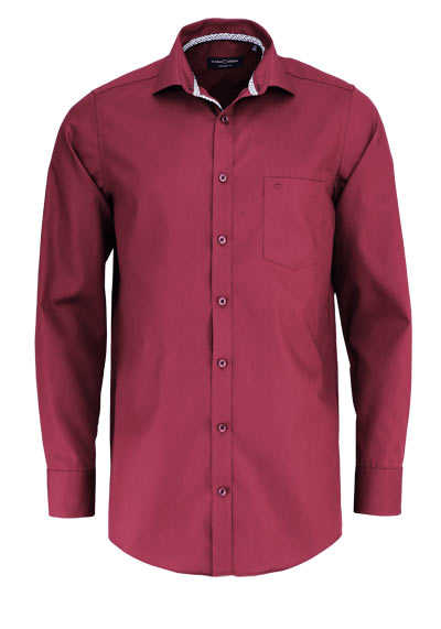 CASAMODA Comfort Fit Hemd Langarm New Kent Kragen dunkelrot - Hemden Meister