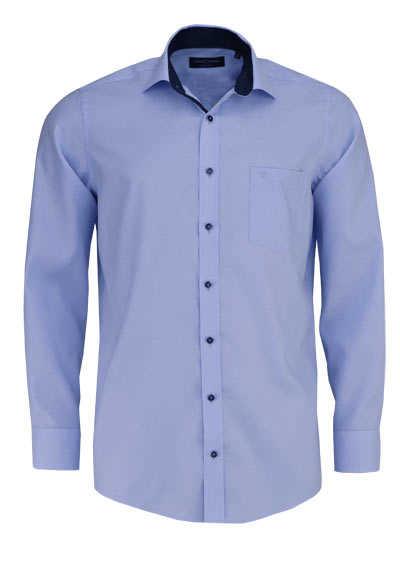 CASAMODA Comfort Fit Hemd Langarm New Kent Kragen Struktur hellblau - Hemden Meister