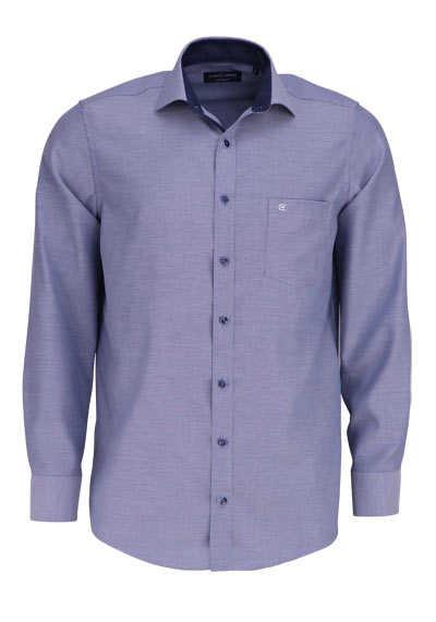 CASAMODA Comfort Fit Hemd Langarm New Kent Kragen Struktur dunkelblau - Hemden Meister