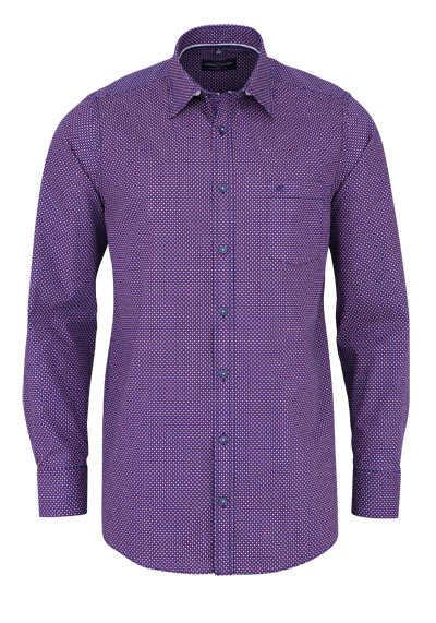 CASAMODA Comfort Fit Hemd Langarm New Kent Kragen Muster rot - Hemden Meister
