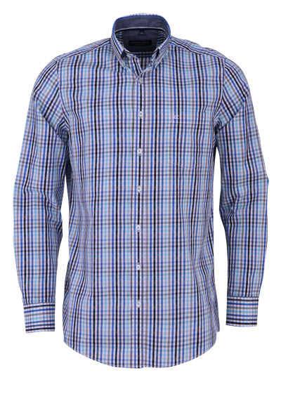 CASAMODA Comfort Fit Hemd Langarm Button Down Kragen Karo blau - Hemden Meister