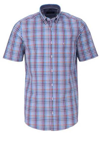 CASAMODA Comfort Fit Hemd Halbarm Button Down Kragen Karo mittelblau - Hemden Meister