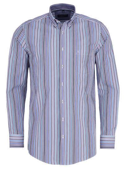CASAMODA Comfort Fit Hemd Langarm Button Down Kragen Streifen blau - Hemden Meister