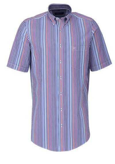 CASAMODA Comfort Fit Hemd Halbarm Button Down Kragen Streifen rot - Hemden Meister