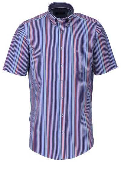 CASAMODA Comfort Fit Hemd Halbarm Button Down Kragen Streifen schwarz - Hemden Meister