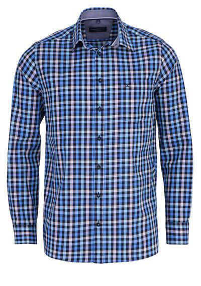 CASAMODA Comfort Fit Hemd Langarm New Kent Kragen Karo blau - Hemden Meister