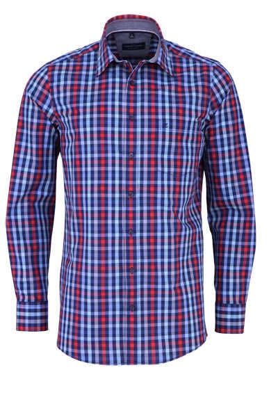 CASAMODA Comfort Fit Hemd Langarm New Kent Kragen Karo dunkelblau - Hemden Meister
